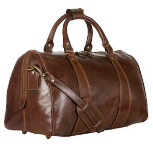 John Lewis Brown Leather Holdall Bag