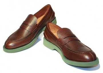 Thomas Dean Brown Pebbled Leather Penny Loafers With Green Soles
