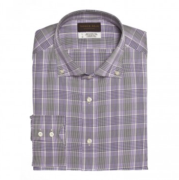 Thomas Dean Collection Purple Check Button Down Collar Sport Shirt