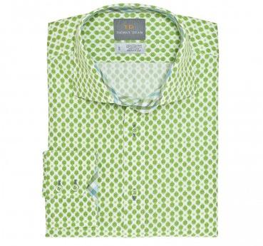 Thomas Dean Green Poplin Geo Print Sport Shirt