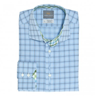 Thomas Dean Poplin Plaid Button Down Shirt