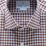 Hugh Crye Barossa Brown Navy Gingham Dress Shirt