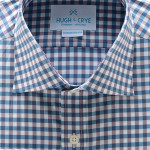 Hugh Crye Sonoma Teal Purple Gingham Dress Shirt