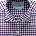 Hugh Crye Mendoza Purple Navy Gingham Dress Shirt