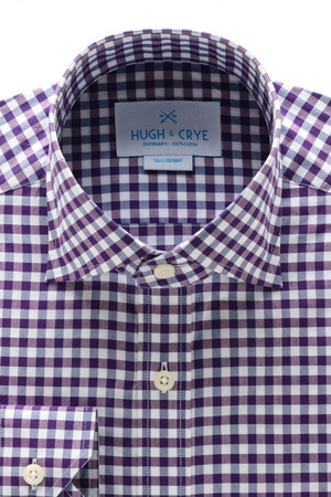 Hugh Crye Mendoza Gingham Dress Shirt Purple Navy Post