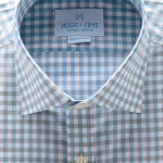 Hugh Crye Williamette Teal Gray Gingham Dress Shirt