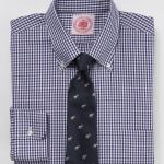 J Press Navy Gingham Shirt