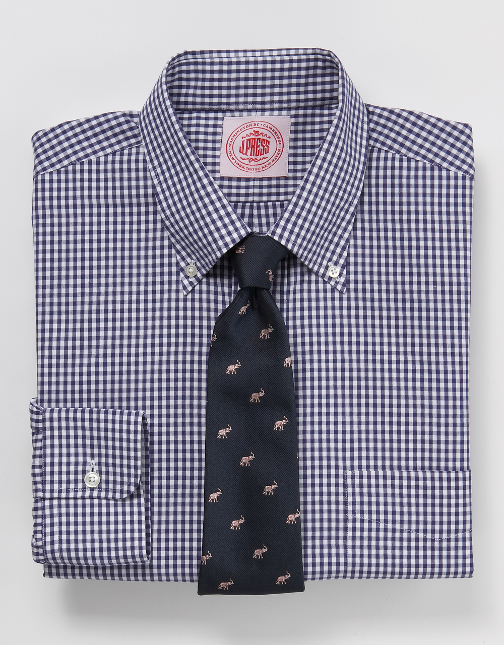 J Press Navy Gingham Shirt Post Modern