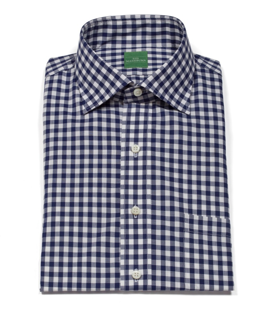 Mashburn Navy Gingham Dress Shirt Post Modern