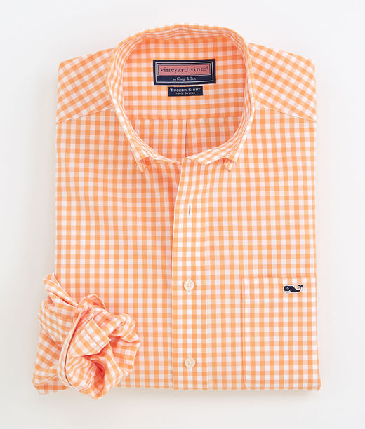 Vineyard Vines Orange Gingham Sport Shirt Post Modern