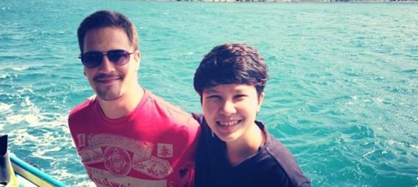 budweiser t-shirt on snorkelling tour