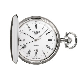 tissot savonnette white quartz pocket watch