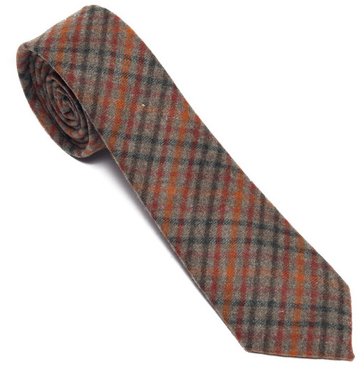 alexander olch green plaid wool tie