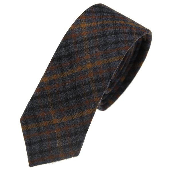 alexander olch navy plaid wool tie