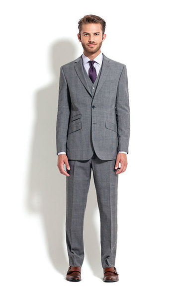 combatant gentlemen grey plaid suit